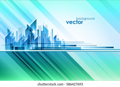 Abstract Night City, vector illustration