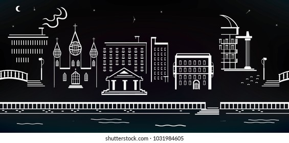 Abstract night cityscape. Seamless banner.