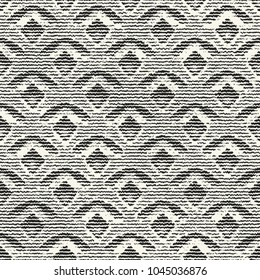 Abstract Noisy Stroke Fish Scale Graphic Motif. Seamless Pattern.