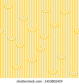 Abstract Noodles Illustration. Yellow and White Stripes Seamless Pattern. Vector Linear Ornament.