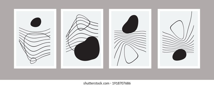 Abstract nordic modern set of hand drawn vector illustration. Curved lines with fluid drop. Neutral graphic design. Spots, wavy lines for wall decoration, postcard, brochure cover. Black white picture