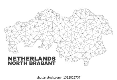 Abstract North Brabant Province map isolated on a white background. Triangular mesh model in black color of North Brabant Province map.