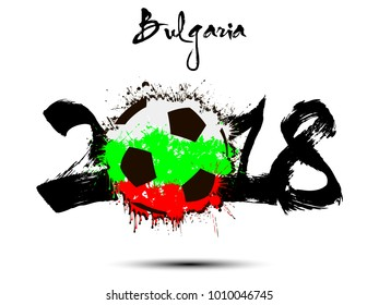 Abstract number 2018 and soccer ball painted in the colors of the Bulgaria flag. Vector illustration