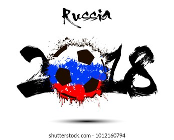 Abstract number 2018 and soccer ball from the blots. Vector illustration