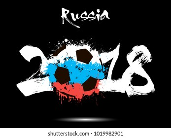 Abstract number 2018 and soccer ball painted in the colors of the Russia flag. Vector illustration