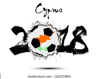 Abstract number 2018 and soccer ball painted in the colors of the Cyprus flag. Vector illustration