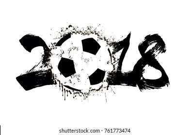 Abstract number 2018 and soccer ball blot. Vector illustration