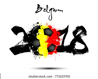 Abstract number 2018 and soccer ball painted in the colors of the Belgium flag. Vector illustration