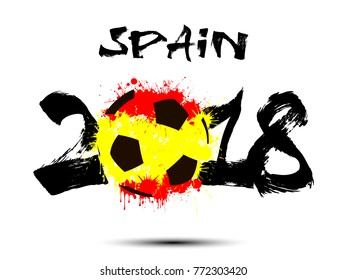 Abstract number 2018 and soccer ball painted in the colors of the  Spain flag. Vector illustration