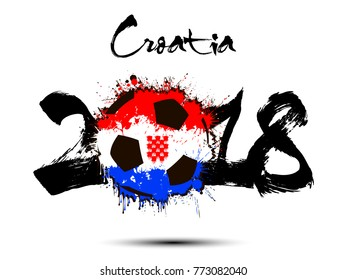 Abstract number 2018 and soccer ball painted in the colors of the Croatia flag. Vector illustration