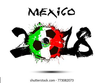 Abstract number 2018 and soccer ball painted in the colors of the Mexico flag. Vector illustration