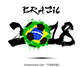 Abstract number 2018 and soccer ball painted in the colors of the Brazil flag. Vector illustration