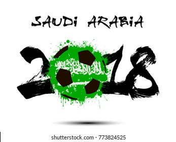 Abstract number 2018 and soccer ball painted in the colors of the Saudi Arabia flag. Vector illustration