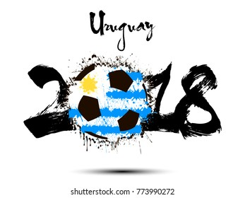 Abstract number 2018 and soccer ball painted in the colors of the Uruguay flag. Vector illustration