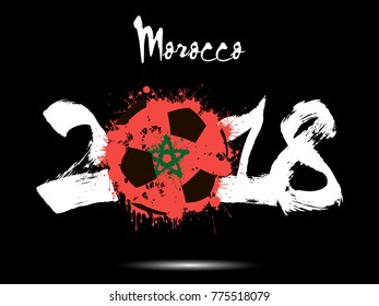 Abstract number 2018 and soccer ball painted in the colors of the Morocco flag. Vector illustration