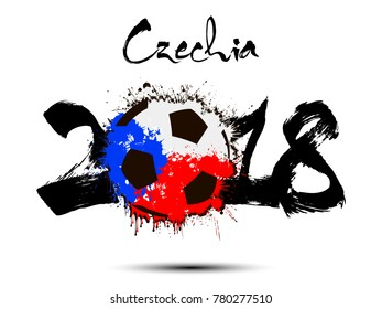 Abstract number 2018 and soccer ball painted in the colors of the Czechia flag. Vector illustration