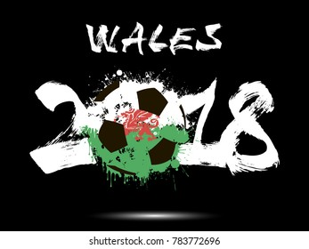 Abstract number 2018 and soccer ball painted in the colors of the Wales flag. Vector illustration