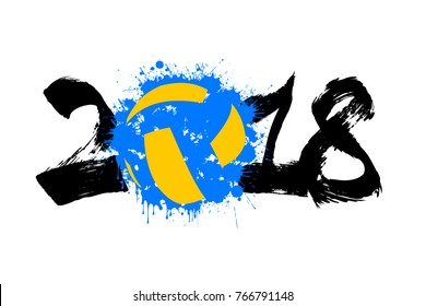 Abstract number 2018 and volleyball blot. Vector illustration