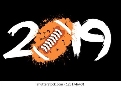 Abstract number 2019 and a football ball from blots. 2019 New Year on an isolated white background. Design pattern for greeting card. Grunge style. Vector illustration