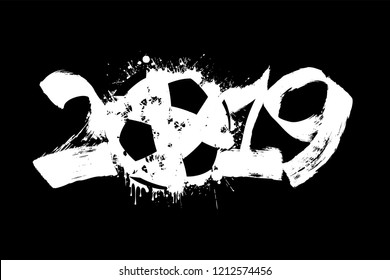 Abstract number 2019 and a soccer ball from blots. 2019 New Year on an isolated black background. Design pattern for greeting card. Grunge style. Vector illustration