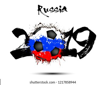Abstract number 2019 and soccer ball from blots painted in the colors of the Russia flag. 2019 New Year on an isolated background. Vector illustration