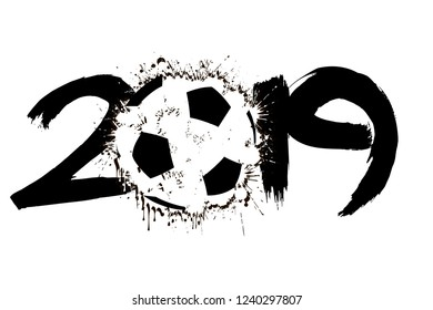 Abstract number 2019 and a soccer ball from blots. 2019 New Year on an isolated background. Design pattern for greeting card. Grunge style. Vector illustration