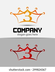 Abstract Number 3 logo Symbol crown icon set