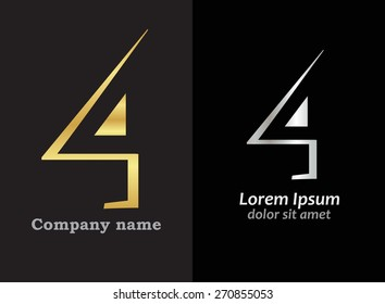 Abstract number logo design.Number four logo.Logo 4 vector template.