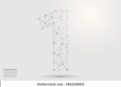 Abstract number one, figure 1, consisting of triangles, circles, spots of decay, stars. Vector eps 10.