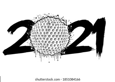 Abstract numbers 2021 and a golf ball from blots. 2021 New Year on an isolated background. Design pattern for greeting card. Grunge style. Vector illustration