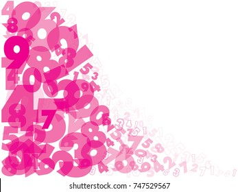 Abstract numbers background, pink color, Vector illustration