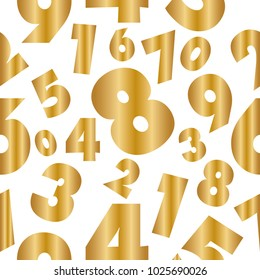 Abstract Numbers Golden Seamless on white background, wallpaper, Vector illustration