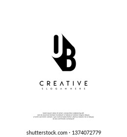 abstract OB logo letter in shadow shape design concept