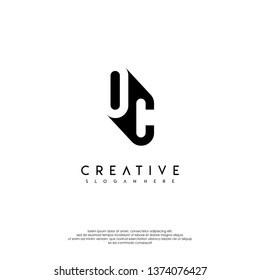 abstract OC logo letter in shadow shape design concept