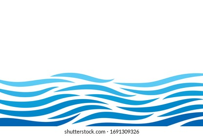 Abstract ocean wave lines river layer vector graphic banner background