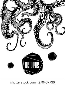 Abstract Octopus,  drawn by hand modern illustration with polygon,  crystal design element, symbol, sign for tattoo, pattern