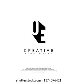 abstract OE  logo letter in shadow shape design concept