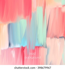 Abstract oil painting texture. Hand drawn paint brushes background. Pastel color palette.