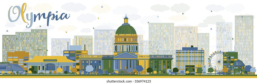 Abstract Olympia (Washington) Skyline with color Buildings. Vector Illustration. Business travel and tourism concept with modern buildings. Image for presentation, banner, placard and web site.