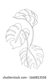 Abstract one line art leaf. Monstera contour drawing. Minimal art leaves isolated on white backgroud. Modern black and white illustration. Elegant continuous line drawing