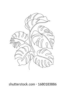 Abstract one line art leaf. Monstera contour drawing. Minimal art leaves isolated on white backgroud. Modern black and white botanical illustration. Elegant continuous line lush foliage drawing