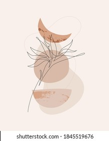 Abstract one line art tropical flower. Minimal mystic backgroud: abstract geometric sun moon shapes, grunge, grain texture. Elegant continuous line drawing for boho wall print, poster in modern style