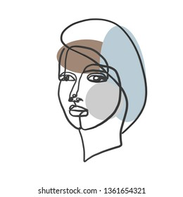 Abstract one line continuous face. Contemporary drawing in modern cubism style. Portrait of a woman face isolated on white background.