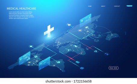 Abstract Online health & Medical Services concept Linking health information around the world To research and find ways to develop health innovations In the treatment of diseases, drugs, vaccines.