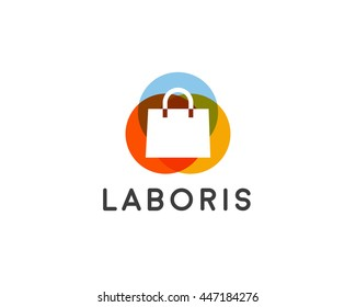 Abstract online shopping bag logo. Shop, sale, discount, store vector logotype.