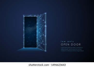 Abstract open door to universe. Low poly style design. Abstract geometric background. Wireframe light connection structure. Modern 3d graphic concept. Isolated vector illustration.