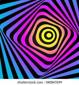 Abstract optic illusion - colorful background. Cmyk concept