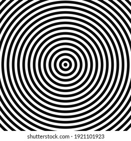 Abstract optical illusion background vector design. Psychedelic striped black and white backdrop. Hypnotic pattern. White and black ring style background. Vector