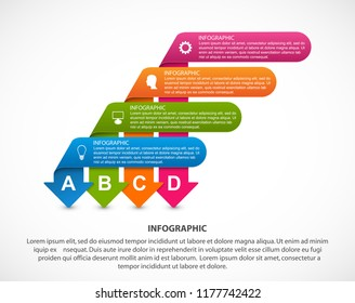 Abstract options infographics template with arrows. Infographics for business presentations or information banner.