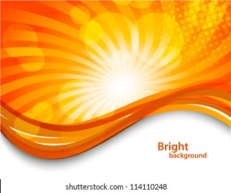 Abstract orange background with circles. Bright illustration